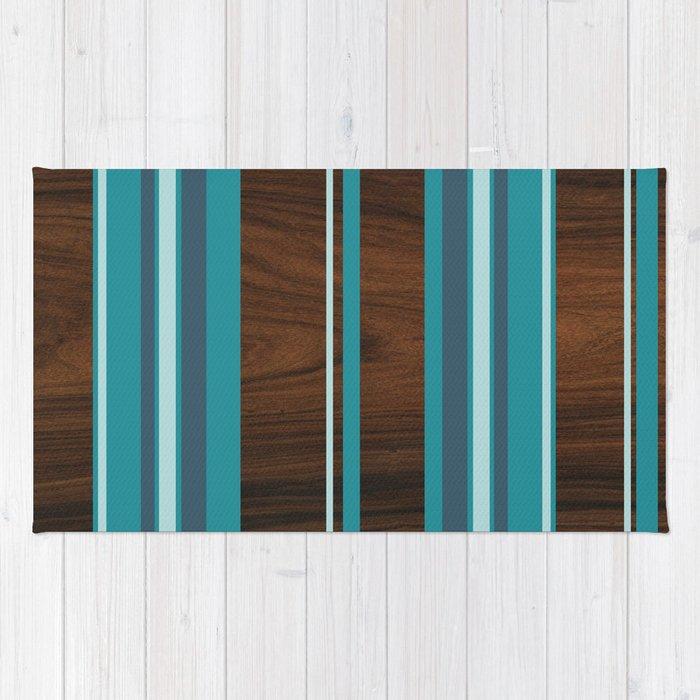 blue stripey Rug