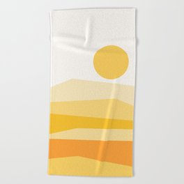 Abstract Landscape 09 Yellow Beach Towel