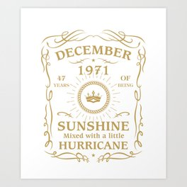 December 1971 Sunshine mixed Hurricane Art Print
