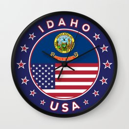 Idaho, Idaho t-shirt, Idaho sticker, circle, Idaho flag, white bg Wall Clock