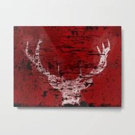 Industrial White Deer Silhouette on Red A313 Metal Print