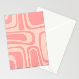 Palm Springs Midcentury Mod Abstract Pattern in Pink Stationery Cards