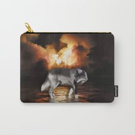 """""""Survivor"""" Grey Wolf Fire Flames Carry-All Pouch"""