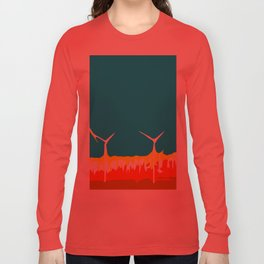wind turbine in the desert with blue sky Long Sleeve T-shirt