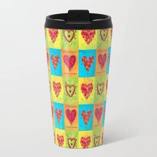 Colorful hearts pattern Travel Mug