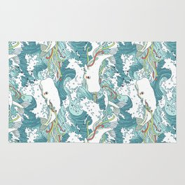 Whales and waves pattern Rug