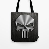 punisher Tote Bags featuring The Punisher by Andrian Kembara