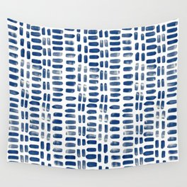 Abstract rectangles - indigo Wall Tapestry
