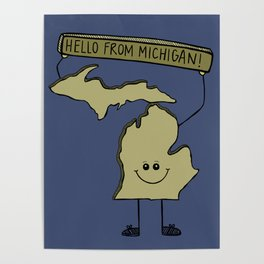 Hello from Michigan Poster