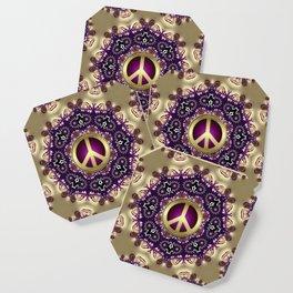 Bohemian Gold Peace Symbol Coaster