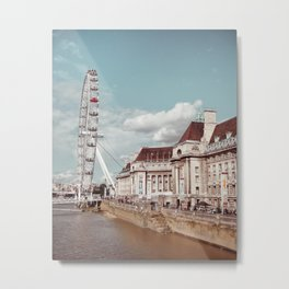 Postcard Picture of the London Eye & The Thames, moody blue tint Metal Print