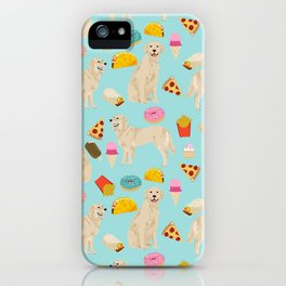 Golden Retriever donuts french fries ice cream pizzas funny dog gifts dog breeds iPhone Case