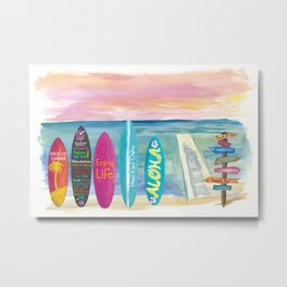 Surfboard Philosophy  - Enjoy Life, Travel and Surf - Surfboard Wall Metal Print