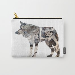 Gray Abstract Fluid Art Wolf Image Carry-All Pouch