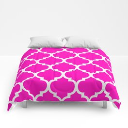 MOROCCAN PINK AND WHITE PATTERN Comforters
