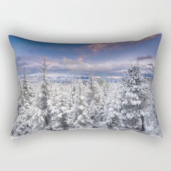 """""""Mountain light"""". Snowy forest at sunset Rectangular Pillow"""
