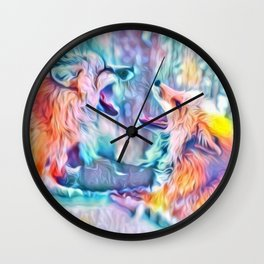 Pastel Foxes Wall Clock