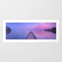 Jetty on a still lake at dawn in The Netherlands Art Print