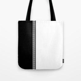 Greek Key 2 - White and Black Tote Bag