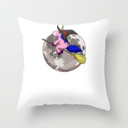 Unicorn Witch Moon, It's Show Time Funny Halloween Horror Scary Throw Pillow