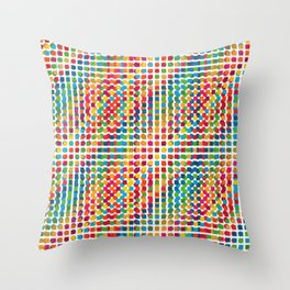 Colourful Square and Dot Design Throw Pillow