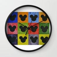 mickey Wall Clocks featuring Mickey by Sierra Christy Art