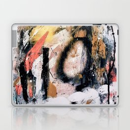 Lightning Soul: a vibrant colorful abstract acrylic, ink, and spray paint in gold, black, pink Laptop & iPad Skin