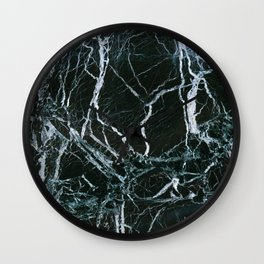 Black Marble With White Ribbons Wall Clock