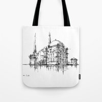 islam Tote Bags featuring Dolmabahce Mosque by Nikoloz Lekveishvili