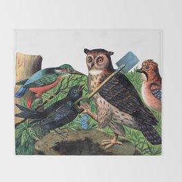 Vintage Owl with Shovel Throw Blanket