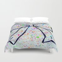bow Duvet Covers featuring Bow by T. Tamaiiya