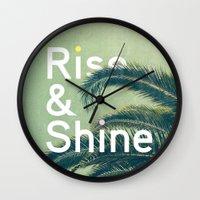 Wall Clocks featuring Rise & Shine by Anna Dorfman