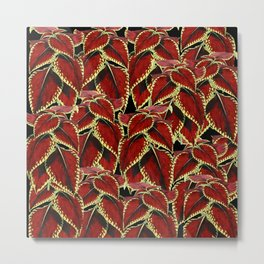 Red Leaves On Black Pattern Metal Print