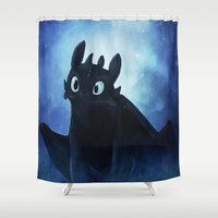 toothless Shower Curtains featuring Toothless by Liancary