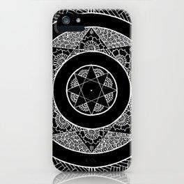 Flower Star Mandala - Black White iPhone Case