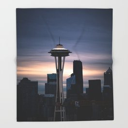 Space Needle Sunset - Seattle Nights Throw Blanket