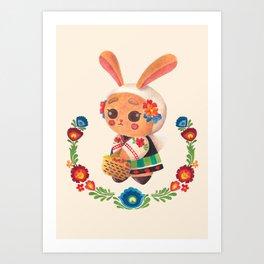 The Cute Bunny in Polish Costume Art Print