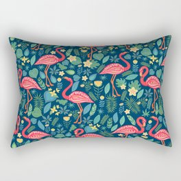 Flamingo Blue Pattern Rectangular Pillow