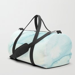Abstract hand painted blue teal watercolor paint pattern Duffle Bag