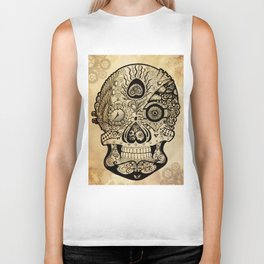 Steampunk Sugar Skull Biker Tank