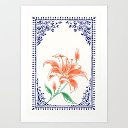 Vintage Orange Flower 4 with Blue Border  Art Print