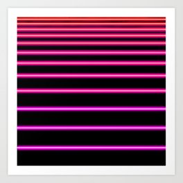 Pink to Red Neon Art Print