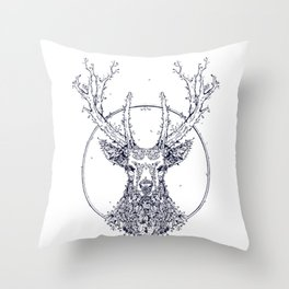 Flowers and Stag [Monochrome] Throw Pillow