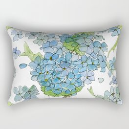 Blue Hydrangea Watercolor Rectangular Pillow