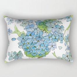 Blue Hydrangea Watercolor Rectangular Pillow
