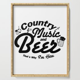 Country Music and Beer Serving Tray