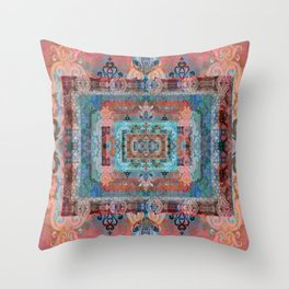 Psychedelic Boho Persian Rug Tapestry Print Throw Pillow