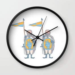 Knights in armour with shield and sword. Wall Clock