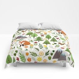 Scandinavian Style Illustrations on Cream Pattern Comforters