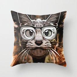 Cat Curious Throw Pillow